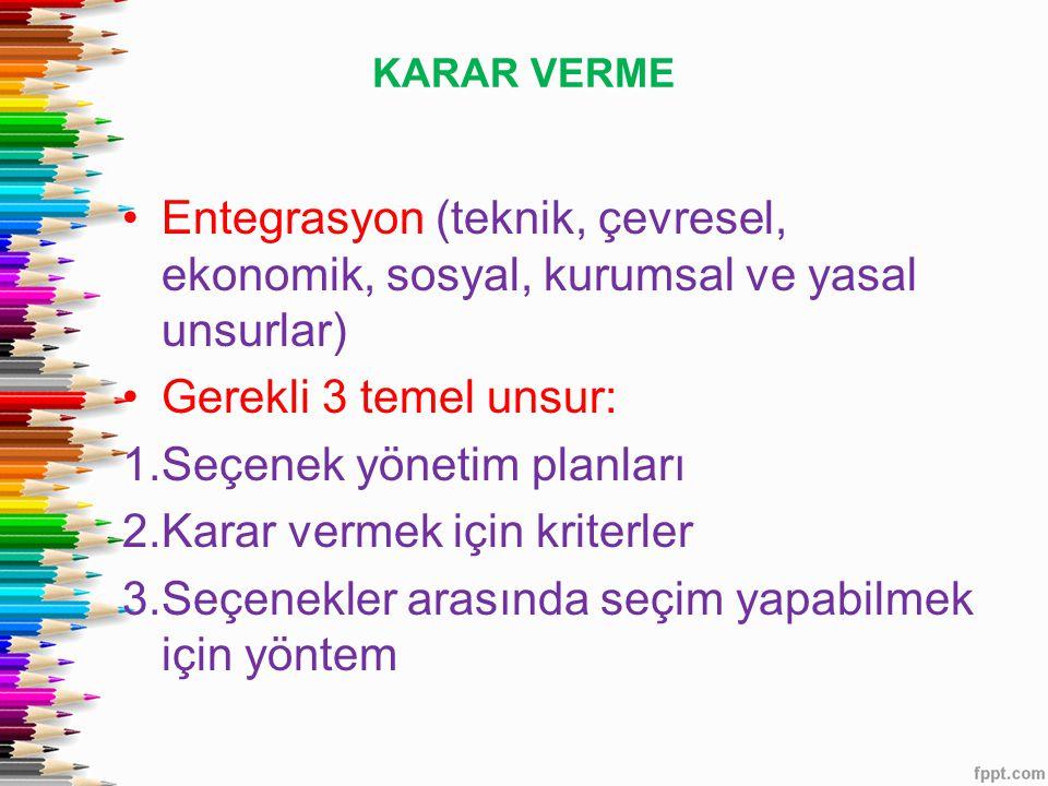 KARAR VERME Entegrasyon (teknik, çevresel, ekonomik, sosyal, kurumsal ve yasal unsurlar) Gerekli 3 temel unsur: 1.Seçenek yönetim planları 2.Karar vermek için kriterler 3.Seçenekler arasında seçim yapabilmek için yöntem