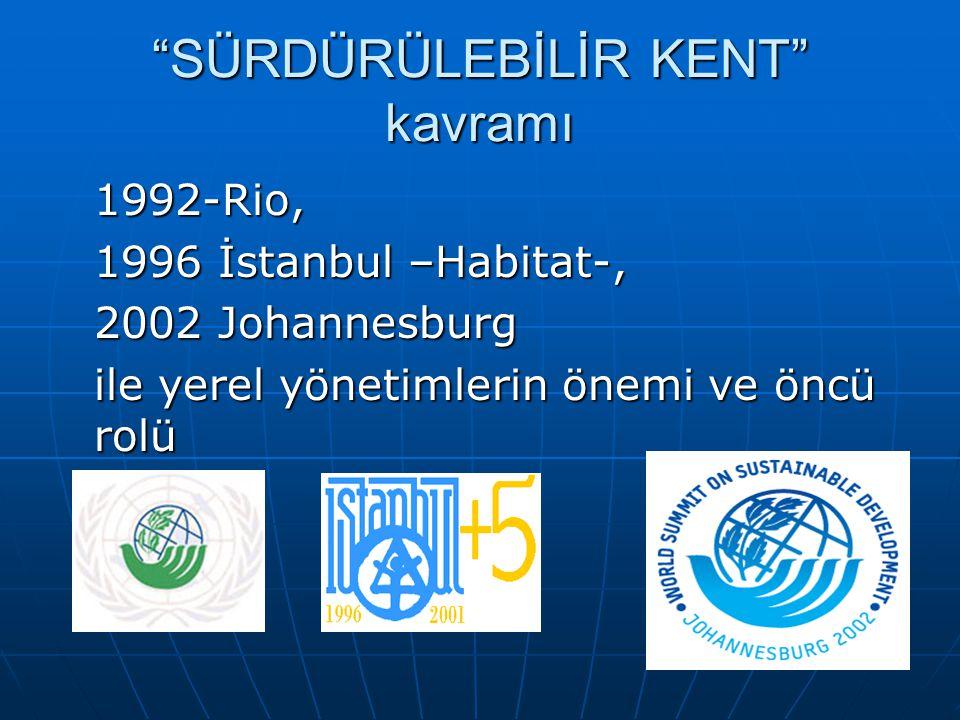 """""""SÜRDÜRÜLEBİLİR KENT"""" kavramı 1992-Rio, 1996 İstanbul –Habitat-, 2002 Johannesburg ile yerel yönetimlerin önemi ve öncü rolü"""