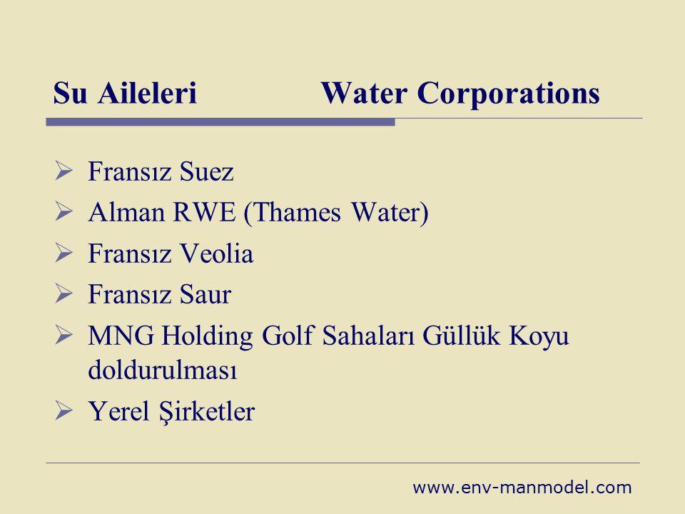 Su Aileleri Water Corporations  Fransız Suez  Alman RWE (Thames Water)  Fransız Veolia  Fransız Saur  MNG Holding Golf Sahaları Güllük Koyu doldu