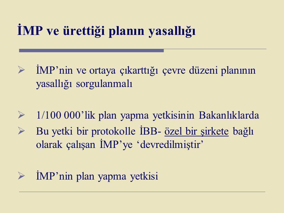 İMP ve ürettiği planın yasallığı  İMP'nin ve ortaya çıkarttığı çevre düzeni planının yasallığı sorgulanmalı  1/100 000'lik plan yapma yetkisinin Bak
