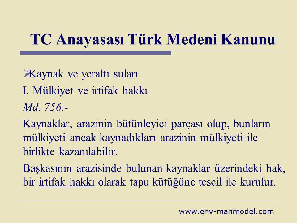 TC Anayasası Türk Medeni Kanunu  Kaynak ve yeraltı suları I. Mülkiyet ve irtifak hakkı Md. 756.- Kaynaklar, arazinin bütünleyici parçası olup, bunlar