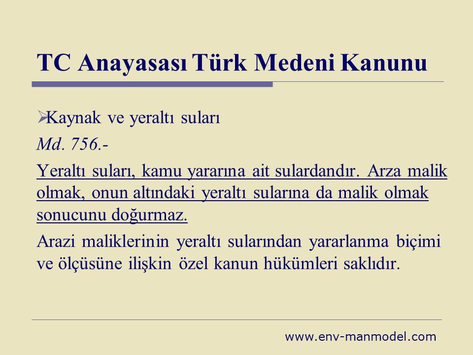 TC Anayasası Türk Medeni Kanunu  Kaynak ve yeraltı suları Md. 756.- Yeraltı suları, kamu yararına ait sulardandır. Arza malik olmak, onun altındaki y