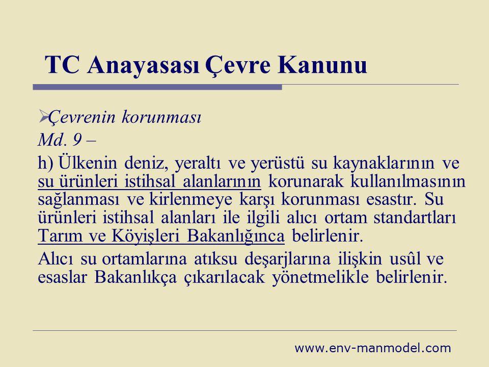 TC Anayasası Çevre Kanunu  Çevrenin korunması Md. 9 – h) Ülkenin deniz, yeraltı ve yerüstü su kaynaklarının ve su ürünleri istihsal alanlarının korun