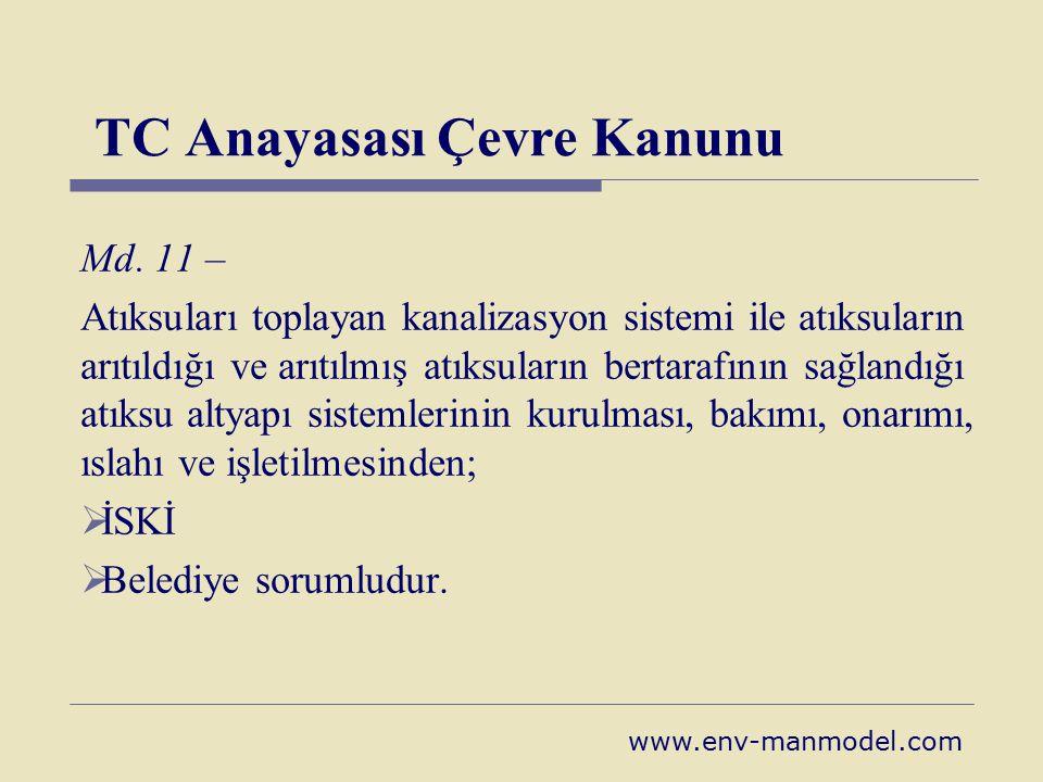 TC Anayasası Çevre Kanunu Md. 11 – Atıksuları toplayan kanalizasyon sistemi ile atıksuların arıtıldığı ve arıtılmış atıksuların bertarafının sağlandığ