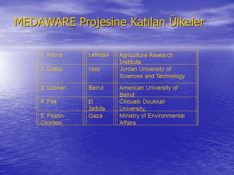 MEDAWARE Projesine Katılan Ülkeler 1. KıbrısLefkoşa Agriculture Research Institute 2. ÜrdünIrbidJordan University of Sciences and Technology 3. Lübnan