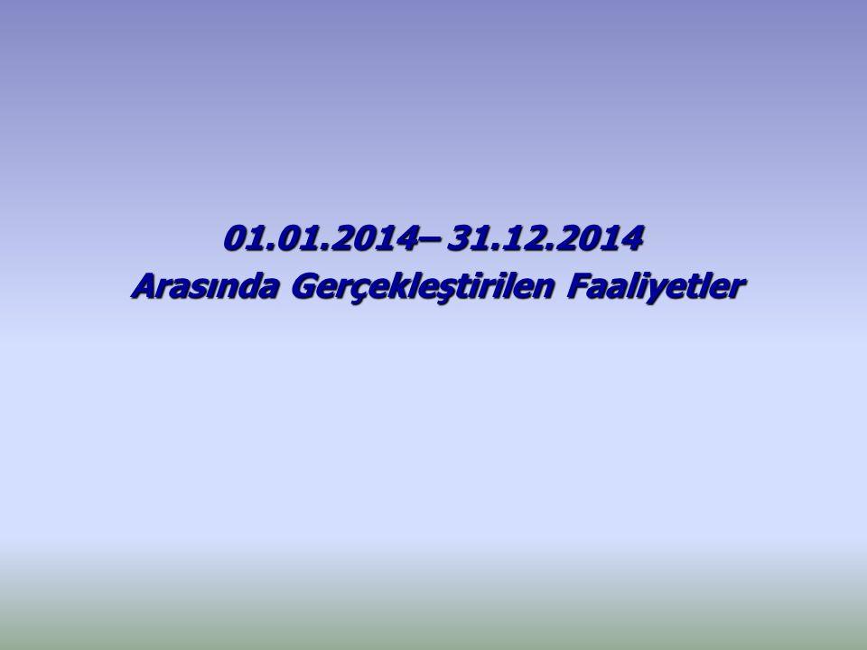 01.01.2014– 31.12.2014 Arasında Gerçekleştirilen Faaliyetler Arasında Gerçekleştirilen Faaliyetler