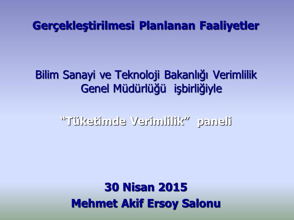 Gerçekleştirilmesi Planlanan Faaliyetler Bilim Sanayi ve Teknoloji Bakanlığı Verimlilik Genel Müdürlüğü işbirliğiyle Tüketimde Verimlilik paneli 30 Nisan 2015 Mehmet Akif Ersoy Salonu