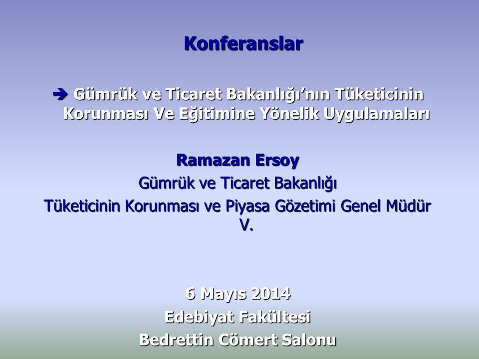 Konferanslar Konferanslar   Yönetim Sistemleri Uygulamaları ve Tüketiciye Katkısı Murat Sayar Türk Standartları Enstitüsü Uzmanı 20 Mayıs 2014 20 Mayıs 2014 Tuğrul Çubukçu Salonu