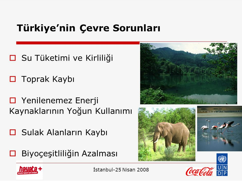 İstanbul-25 Nisan 2008 Türkiye'nin Çevre Sorunları  Su Tüketimi ve Kirliliği  Toprak Kaybı  Yenilenemez Enerji Kaynaklarının Yoğun Kullanımı  Sulak Alanların Kaybı  Biyoçeşitliliğin Azalması