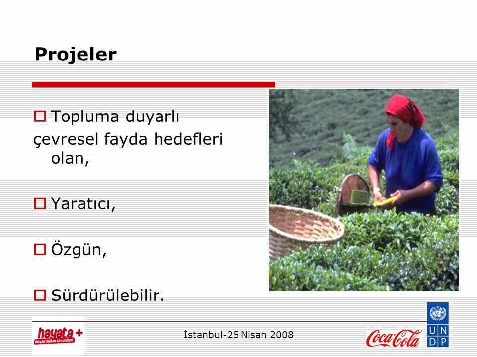 İstanbul-25 Nisan 2008  Topluma duyarlı çevresel fayda hedefleri olan,  Yaratıcı,  Özgün,  Sürdürülebilir. Projeler
