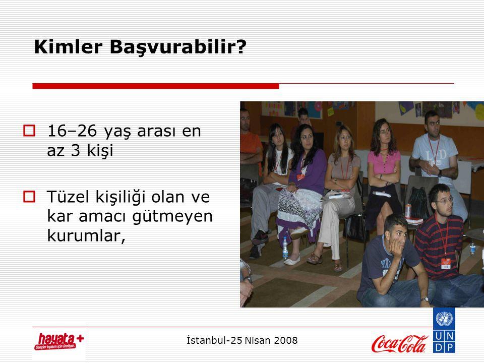 İstanbul-25 Nisan 2008 Kimler Başvurabilir?  16–26 yaş arası en az 3 kişi  Tüzel kişiliği olan ve kar amacı gütmeyen kurumlar,
