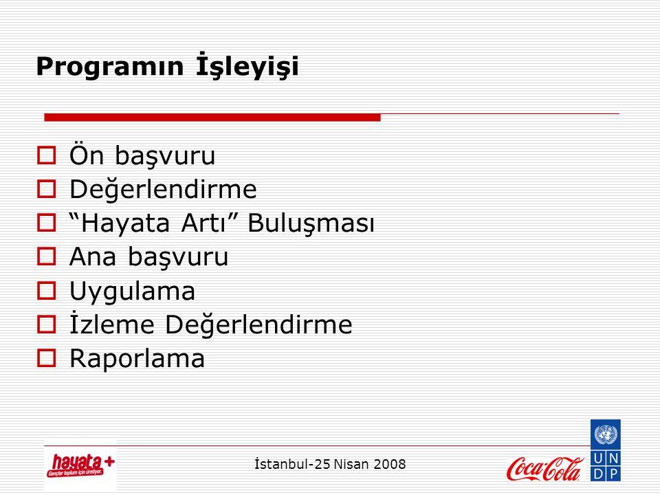 İstanbul-25 Nisan 2008 Programın İşleyişi  Ön başvuru  Değerlendirme  Hayata Artı Buluşması  Ana başvuru  Uygulama  İzleme Değerlendirme  Raporlama