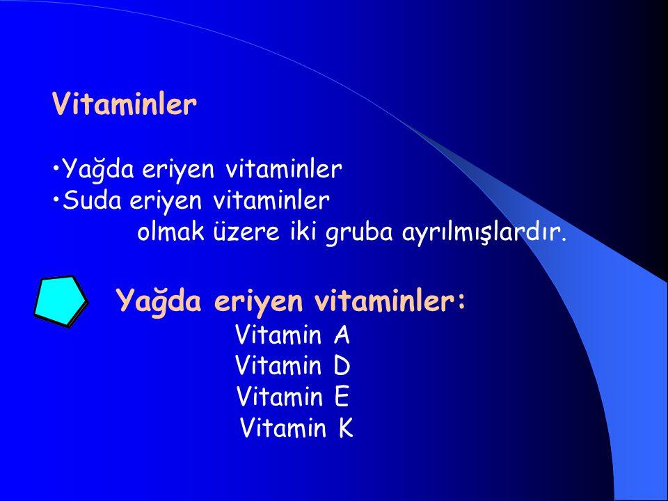 Yağda eriyen vitaminler Suda eriyen vitaminler olmak üzere iki gruba ayrılmışlardır. Yağda eriyen vitaminler: Vitamin A Vitamin D Vitamin E Vitamin K