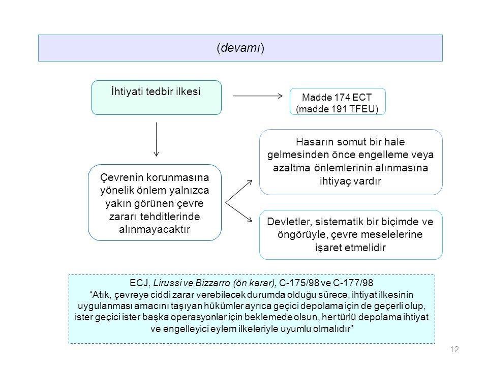 Hasarın somut bir hale gelmesinden önce engelleme veya azaltma önlemlerinin alınmasına ihtiyaç vardır Çevrenin korunmasına yönelik önlem yalnızca yakın görünen çevre zararı tehditlerinde alınmayacaktır Devletler, sistematik bir biçimde ve öngörüyle, çevre meselelerine işaret etmelidir (devamı) İhtiyati tedbir ilkesi Madde 174 ECT (madde 191 TFEU) ECJ, Lirussi ve Bizzarro (ön karar), C-175/98 ve C-177/98 Atık, çevreye ciddi zarar verebilecek durumda olduğu sürece, ihtiyat ilkesinin uygulanması amacını taşıyan hükümler ayrıca geçici depolama için de geçerli olup, ister geçici ister başka operasyonlar için beklemede olsun, her türlü depolama ihtiyat ve engelleyici eylem ilkeleriyle uyumlu olmalıdır 12
