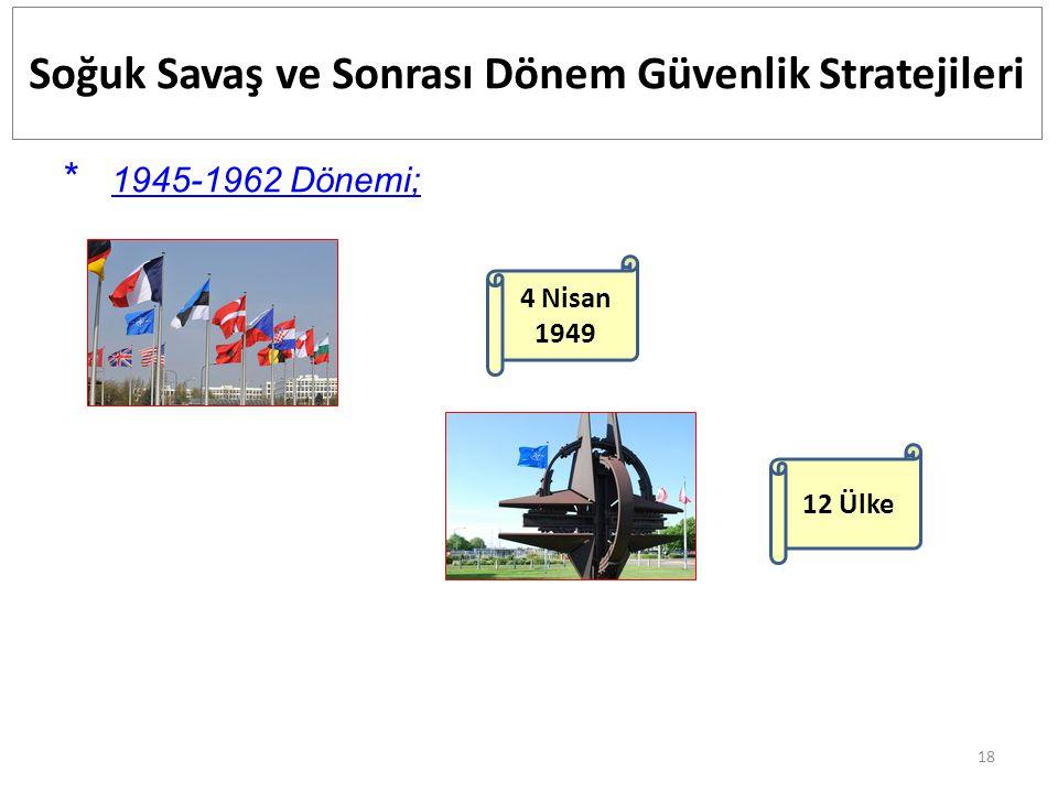 18 Soğuk Savaş ve Sonrası Dönem Güvenlik Stratejileri * 1945-1962 Dönemi; 4 Nisan 1949 12 Ülke