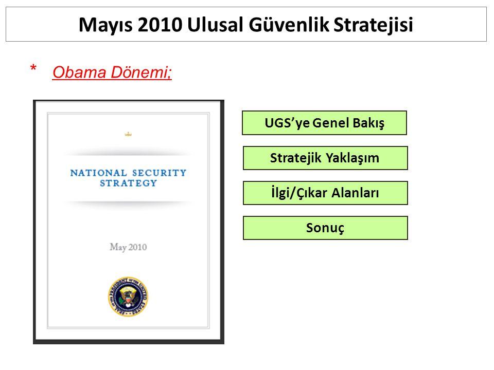 * Obama Dönemi; Mayıs 2010 Ulusal Güvenlik Stratejisi UGS'ye Genel Bakış Stratejik Yaklaşım İlgi/Çıkar Alanları Sonuç