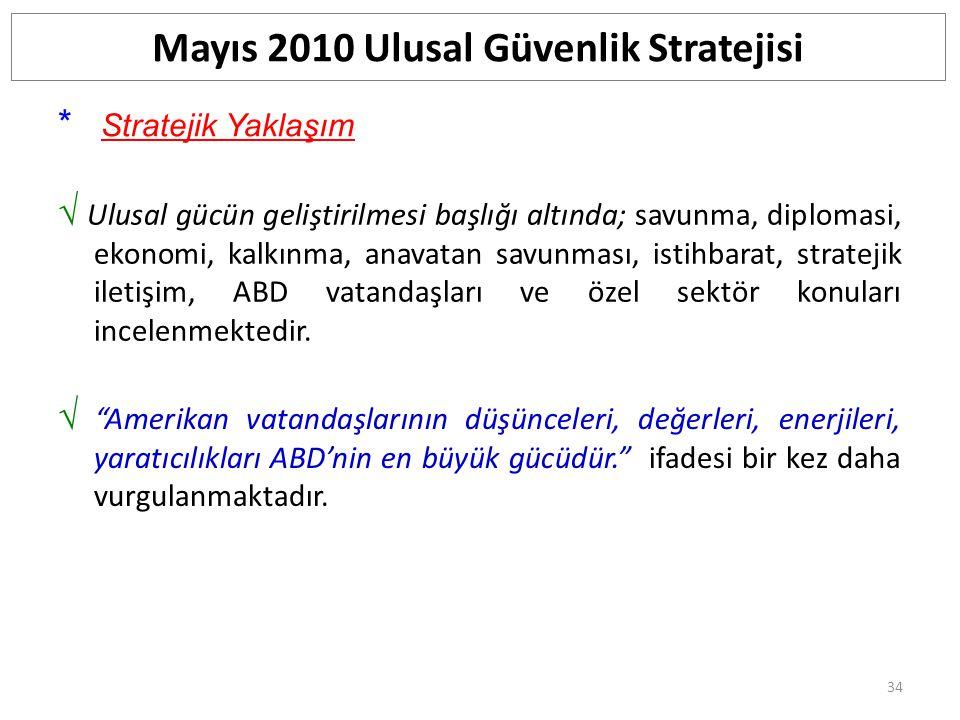 35 Güvenlik Değerler Ana Eksen * İlgi alanları/Ulusal çıkar; RefahUluslar arası düzen Mayıs 2010 Ulusal Güvenlik Stratejisi