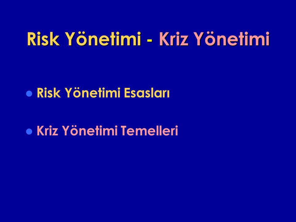 Risk Yönetimi - Kriz Yönetimi Risk Yönetimi Esasları Kriz Yönetimi Temelleri