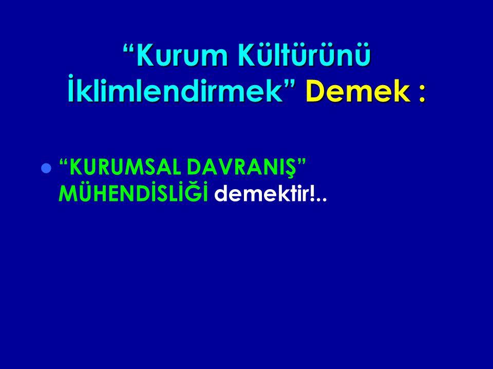 Kurum Kültürünü İklimlendirmek Demek : KURUMSAL DAVRANIŞ MÜHENDİSLİĞİ demektir!..