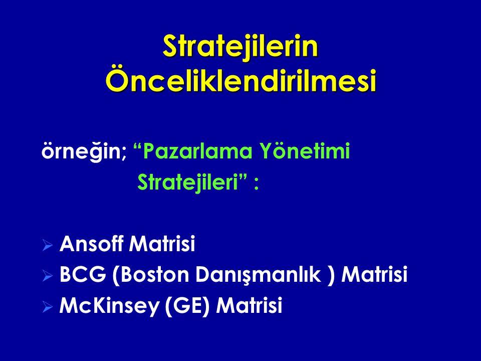 Stratejilerin Önceliklendirilmesi örneğin; Pazarlama Yönetimi Stratejileri :  Ansoff Matrisi  BCG (Boston Danışmanlık ) Matrisi  McKinsey (GE) Matrisi