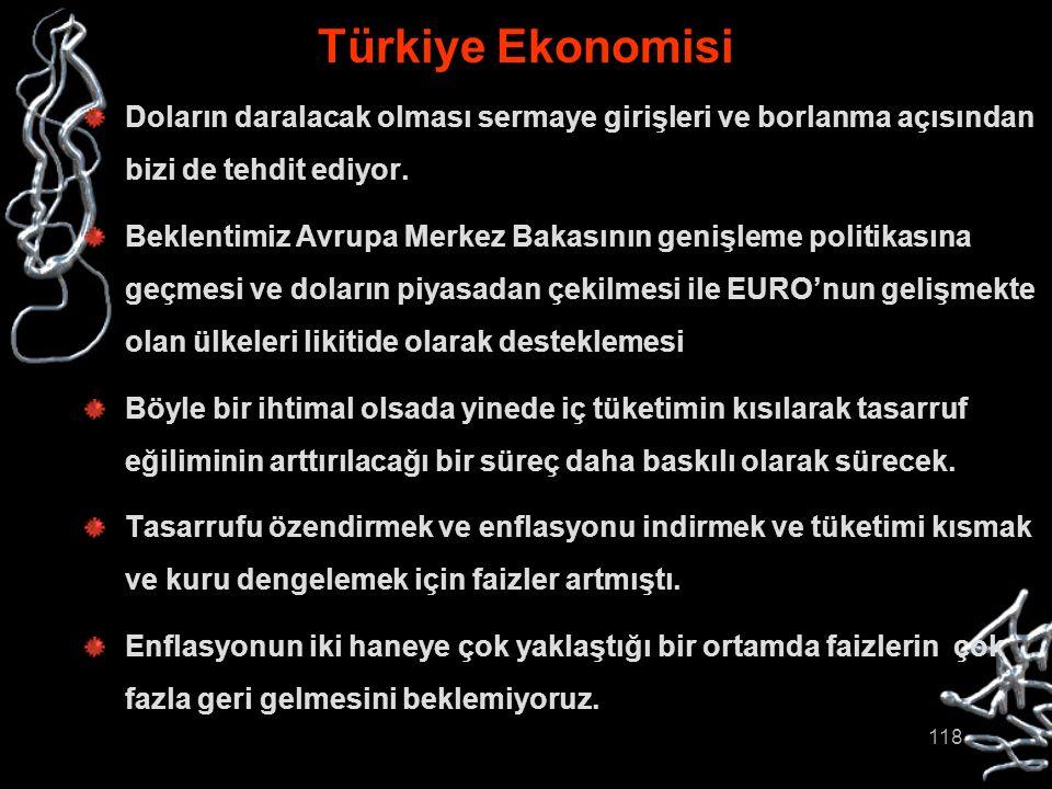 118 Türkiye Ekonomisi Doların daralacak olması sermaye girişleri ve borlanma açısından bizi de tehdit ediyor. Beklentimiz Avrupa Merkez Bakasının geni
