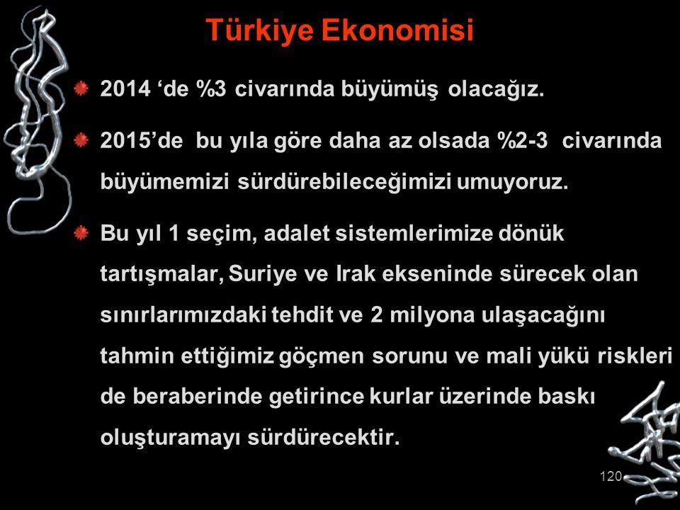 120 Türkiye Ekonomisi 2014 'de %3 civarında büyümüş olacağız. 2015'de bu yıla göre daha az olsada %2-3 civarında büyümemizi sürdürebileceğimizi umuyor