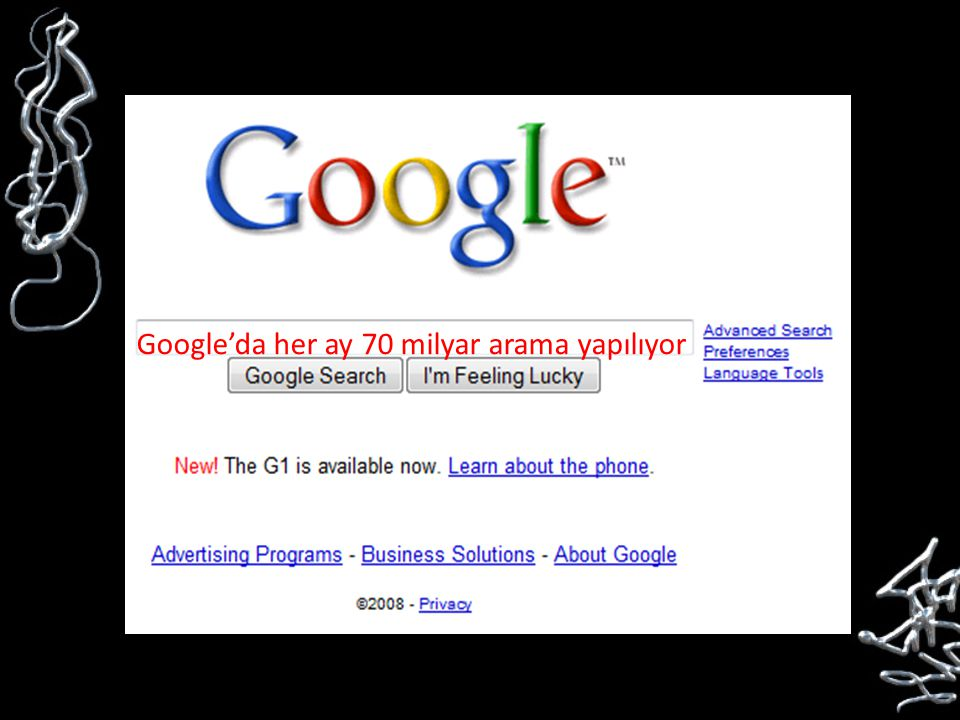 Google'da her ay 70 milyar arama yapılıyor