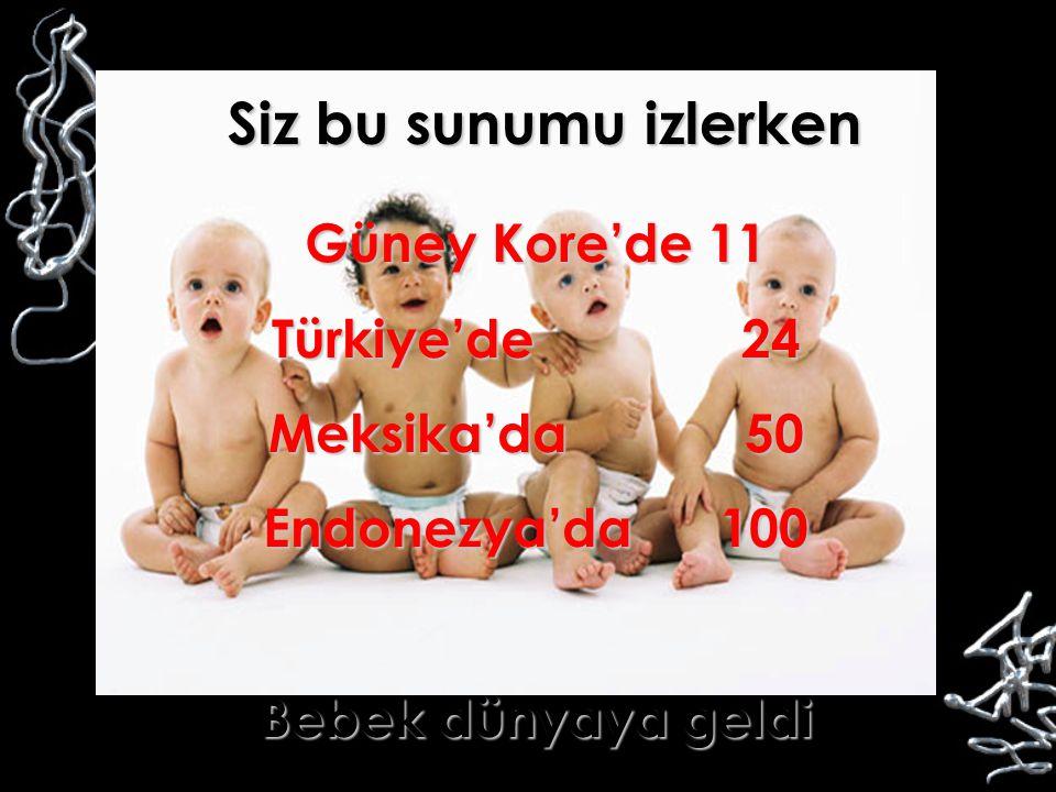 Siz bu sunumu izlerken Güney Kore'de 11 Türkiye'de 24 Meksika'da 50 Endonezya'da 100 Bebek dünyaya geldi