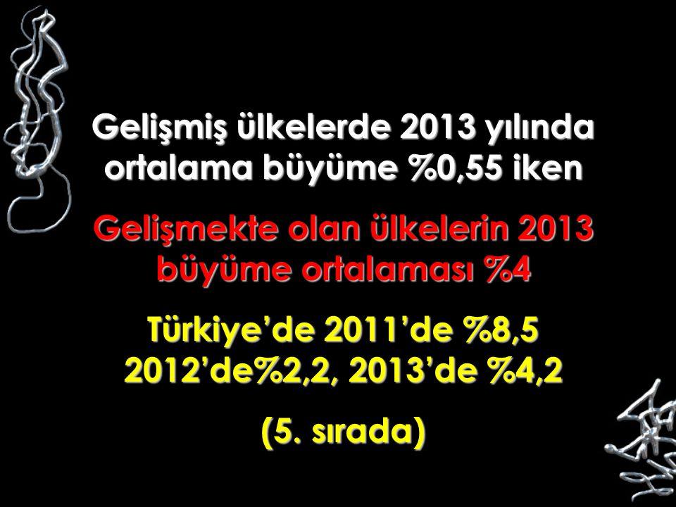Gelişmiş ülkelerde 2013 yılında ortalama büyüme %0,55 iken Gelişmekte olan ülkelerin 2013 büyüme ortalaması %4 Türkiye'de 2011'de %8,5 2012'de%2,2, 20