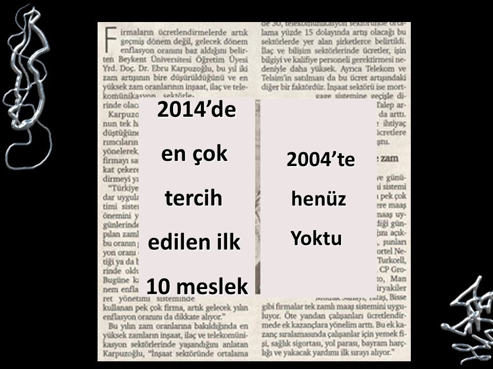 2004'te 2004'tehenüzYoktu 2014'de en çok tercih edilen ilk 10 meslek