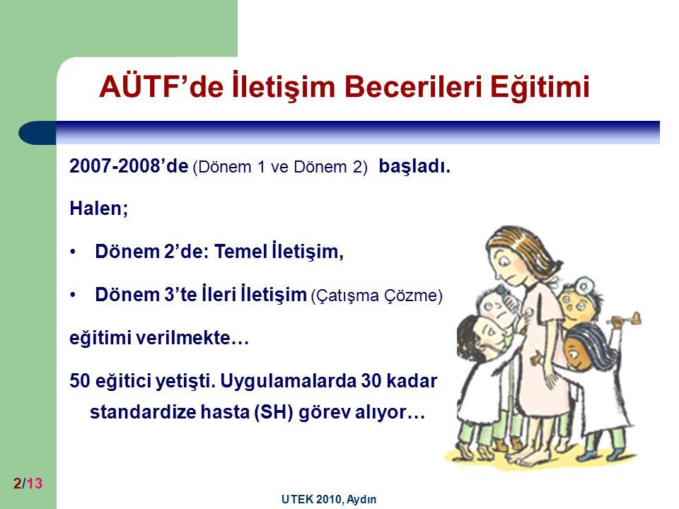 UTEK 2010, Aydın 2/13 AÜTF'de İletişim Becerileri Eğitimi 2007-2008'de (Dönem 1 ve Dönem 2) başladı. Halen; Dönem 2'de: Temel İletişim, Dönem 3'te İle