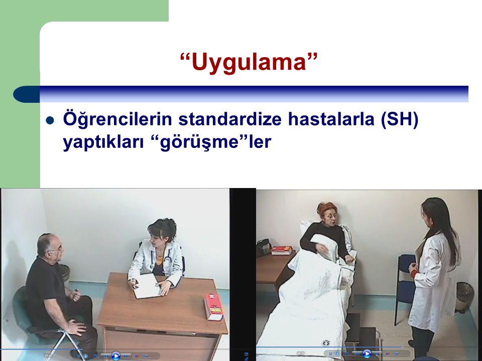 UTEK 2010, Aydın 4/13 Uygulama Öğrencilerin standardize hastalarla (SH) yaptıkları görüşme ler