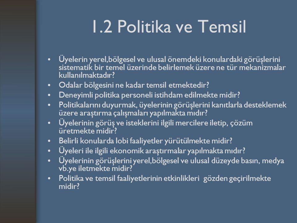 1.2 Politika ve Temsil Üyelerin yerel,bölgesel ve ulusal önemdeki konulardaki görüşlerini sistematik bir temel üzerinde belirlemek üzere ne tür mekanizmalar kullanılmaktadır.