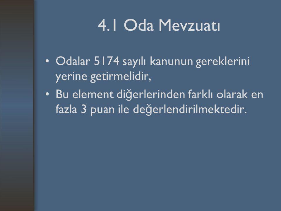 4.1 Oda Mevzuatı Odalar 5174 sayılı kanunun gereklerini yerine getirmelidir, Bu element di ğ erlerinden farklı olarak en fazla 3 puan ile de ğ erlendirilmektedir.