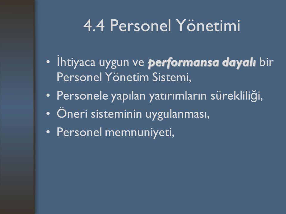 4.4 Personel Yönetimi performansa dayalı İ htiyaca uygun ve performansa dayalı bir Personel Yönetim Sistemi, Personele yapılan yatırımların süreklili ğ i, Öneri sisteminin uygulanması, Personel memnuniyeti,