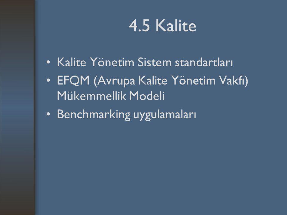 4.5 Kalite Kalite Yönetim Sistem standartları EFQM (Avrupa Kalite Yönetim Vakfı) Mükemmellik Modeli Benchmarking uygulamaları