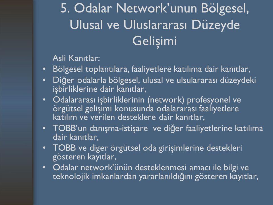 5. Odalar Network'unun Bölgesel, Ulusal ve Uluslararası Düzeyde Gelişimi Asli Kanıtlar: Bölgesel toplantılara, faaliyetlere katılıma dair kanıtlar, Di