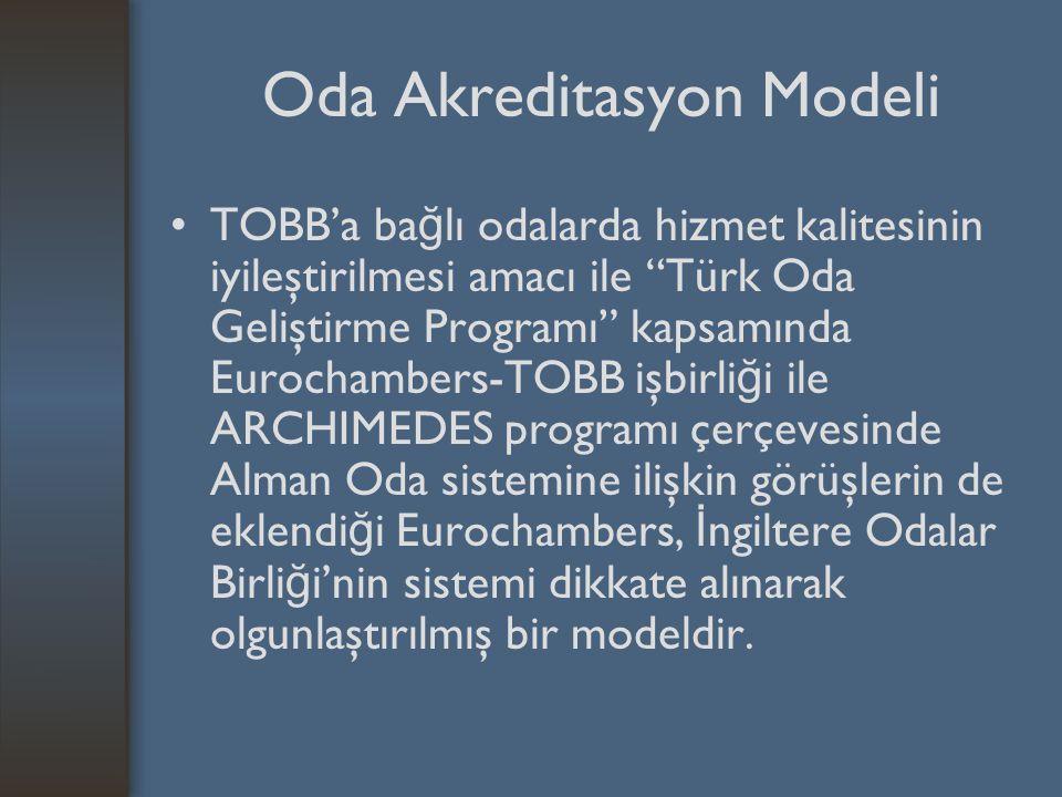 Oda Akreditasyon Modeli TOBB'a ba ğ lı odalarda hizmet kalitesinin iyileştirilmesi amacı ile Türk Oda Geliştirme Programı kapsamında Eurochambers-TOBB işbirli ğ i ile ARCHIMEDES programı çerçevesinde Alman Oda sistemine ilişkin görüşlerin de eklendi ğ i Eurochambers, İ ngiltere Odalar Birli ğ i'nin sistemi dikkate alınarak olgunlaştırılmış bir modeldir.
