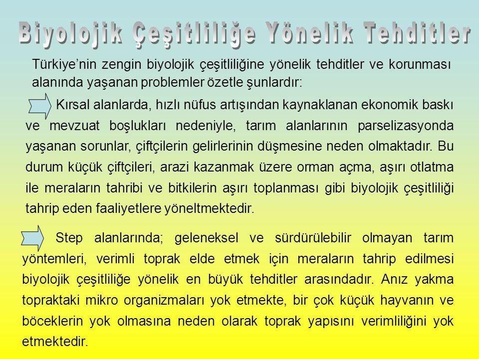 Türkiye'nin zengin biyolojik çeşitliliğine yönelik tehditler ve korunması alanında yaşanan problemler özetle şunlardır: Kırsal alanlarda, hızlı nüfus artışından kaynaklanan ekonomik baskı ve mevzuat boşlukları nedeniyle, tarım alanlarının parselizasyonda yaşanan sorunlar, çiftçilerin gelirlerinin düşmesine neden olmaktadır.