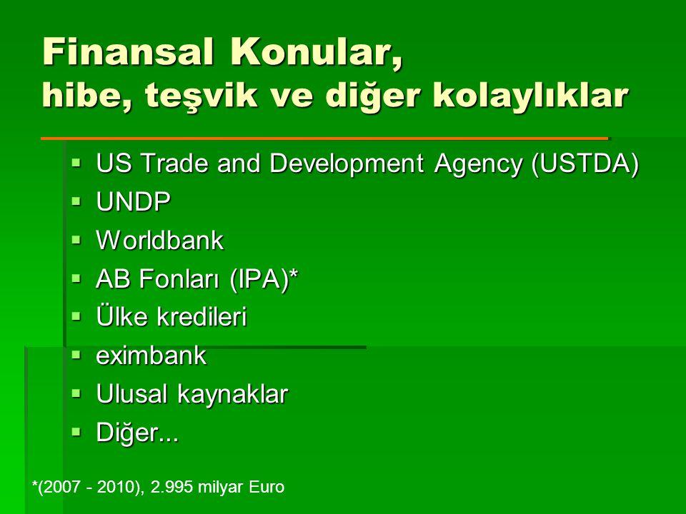 Finansal Konular, hibe, teşvik ve diğer kolaylıklar  US Trade and Development Agency (USTDA)  UNDP  Worldbank  AB Fonları (IPA)*  Ülke kredileri  eximbank  Ulusal kaynaklar  Diğer...