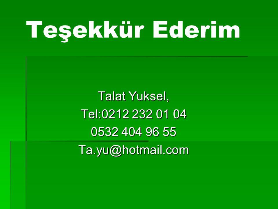 Teşekkür Ederim Talat Yuksel, Tel:0212 232 01 04 0532 404 96 55 Ta.yu@hotmail.com