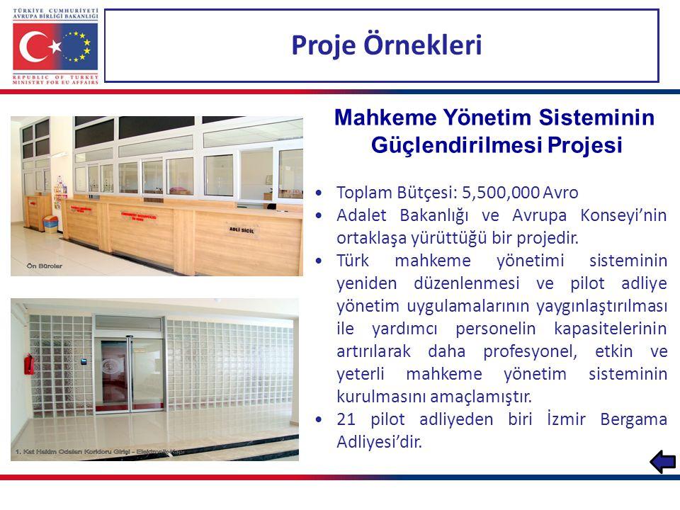 Proje Örnekleri Türkiye'nin Adli Tıp Kapasitesinin Artırılması Projesi Toplam Bütçesi: 18,100,000 Avro Yararlanıcıları Emniyet Genel Müdürlüğü, Jandarma Genel Komutanlığı ve Adli Tıp Kurumu'dur.