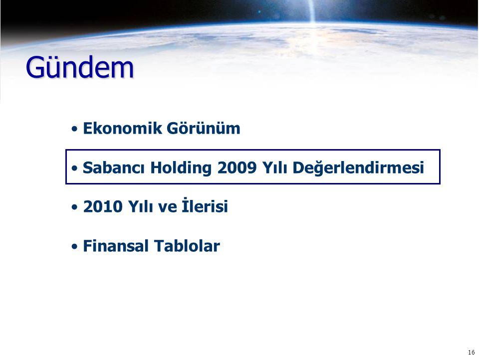 16 Gündem Ekonomik Görünüm Sabancı Holding 2009 Yılı Değerlendirmesi 2010 Yılı ve İlerisi Finansal Tablolar