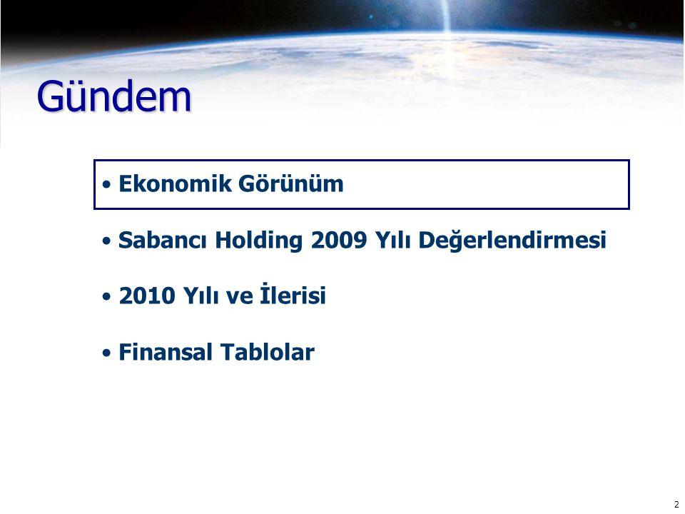 2 Gündem Ekonomik Görünüm Sabancı Holding 2009 Yılı Değerlendirmesi 2010 Yılı ve İlerisi Finansal Tablolar
