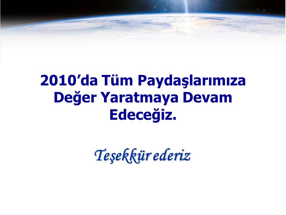 2010'da Tüm Paydaşlarımıza Değer Yaratmaya Devam Edeceğiz. Teşekkür ederiz