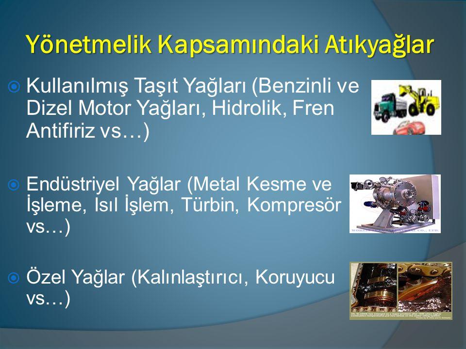 Yönetmelik Kapsamındaki Atıkyağlar  Kullanılmış Taşıt Yağları (Benzinli ve Dizel Motor Yağları, Hidrolik, Fren Antifiriz vs…)  Endüstriyel Yağlar (M