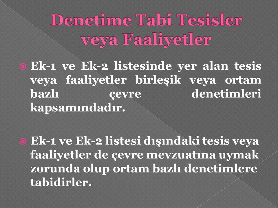  Ek-1 ve Ek-2 listesinde yer alan tesis veya faaliyetler birleşik veya ortam bazlı çevre denetimleri kapsamındadır.  Ek-1 ve Ek-2 listesi dışındaki