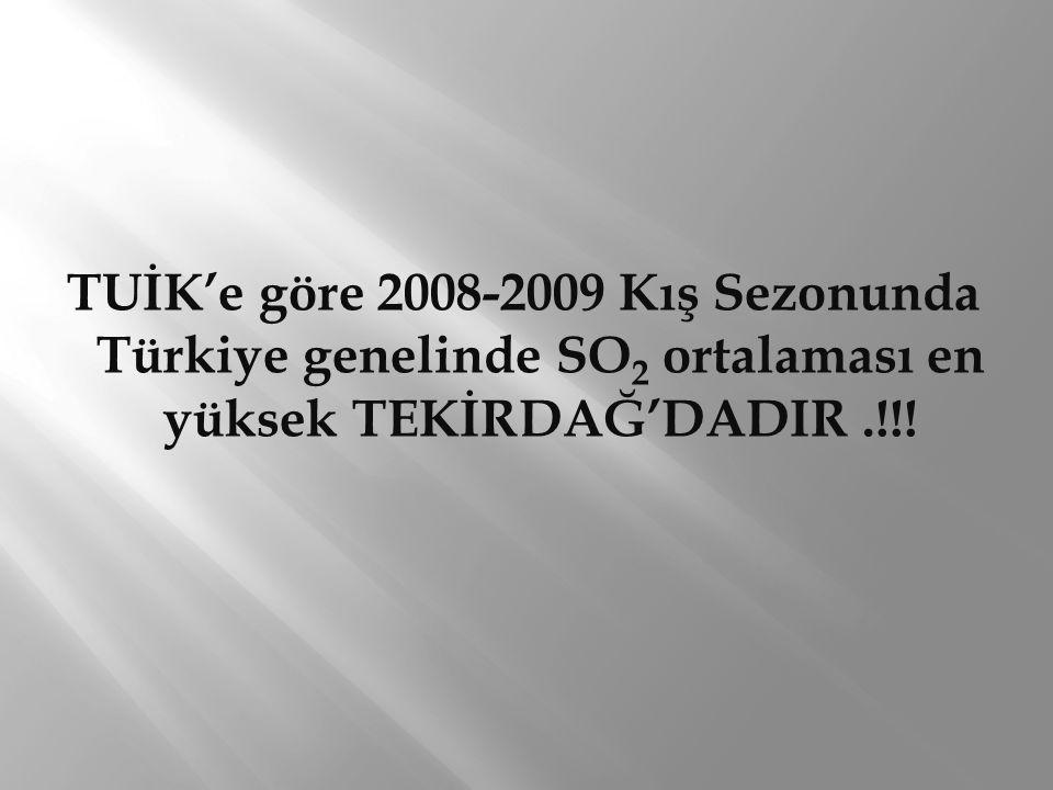 TUİK'e göre 2008-2009 Kış Sezonunda Türkiye genelinde SO 2 ortalaması en yüksek TEKİRDAĞ'DADIR.!!!