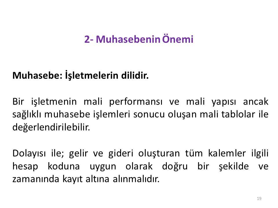 2- Muhasebenin Önemi 19 Muhasebe: İşletmelerin dilidir.