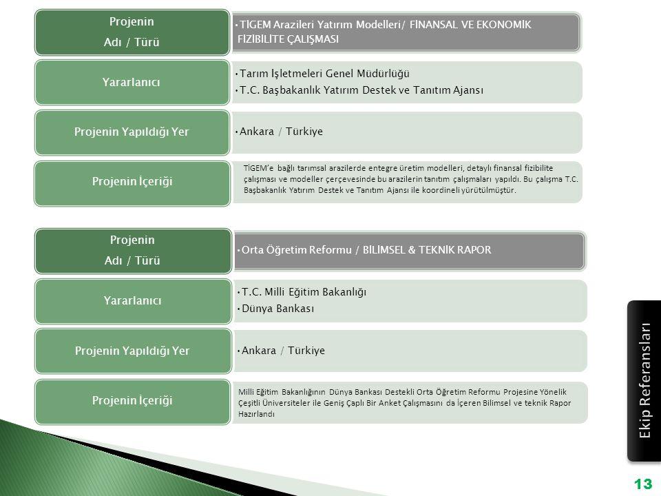 TİGEM Arazileri Yatırım Modelleri/ FİNANSAL VE EKONOMİK FİZİBİLİTE ÇALIŞMASI Projenin Adı / Türü Tarım İşletmeleri Genel Müdürlüğü T.C. Başbakanlık Ya